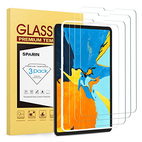 SPARIN Screen Protector for iPad Pro 11-inch, [3 Pack] Tempered Glass Screen Protector Work with FACE ID - Alignment Frame/Fast Response/Apple Pencil