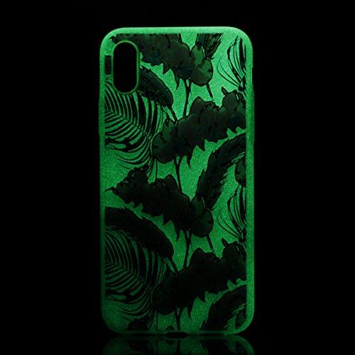 iPhone 8 Custodia , Leiai Moda Fiori Lanterna Fluorescenza Trasparente Silicone Morbido PU Protettivo Antiurto Cover Case Shell Custodia per Apple iPhone 8