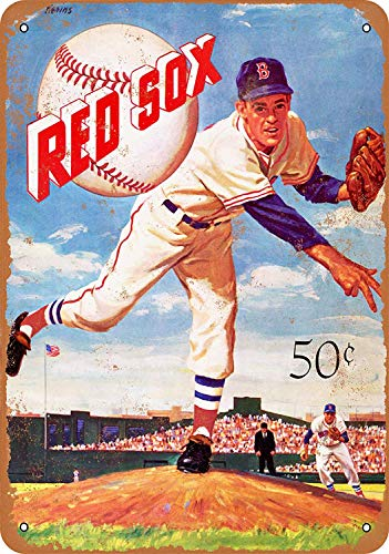 Killy Boston Red Sox Wall Tin Sign Retro Plaque Iron Painting Vintage Metal Sheet Creativity Fashion Poster Funny Art Personalized Decoration Crafts for Bar Cafe Garage Home ()