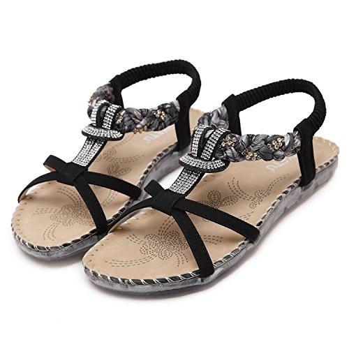 Ouvert Sandales Noires Ethnique Pantoufles Tom De Mine Femmes Chaussures Style Plage Bout Bohme t 6PaEwE