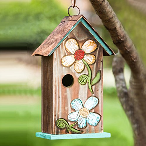 Cheap  Hanging Bird House Outdoor Garden Patio Decorative Resin Pet Cottage Carved Bouquet..