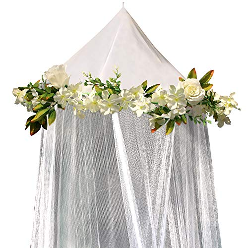 Bobo and Bee -  Enchanted Bed Canopy Mosquito Net For Girls, Kids, Baby, With Detachable Cream Rose and Ivy Garland - Twin Size, White with Satin Trim - Perfect Boho Woodland Nursery Decor