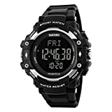 Bounabay Men's Sports Pedometer Watch with Heart Rate Monitor LED Digital Watch 50M