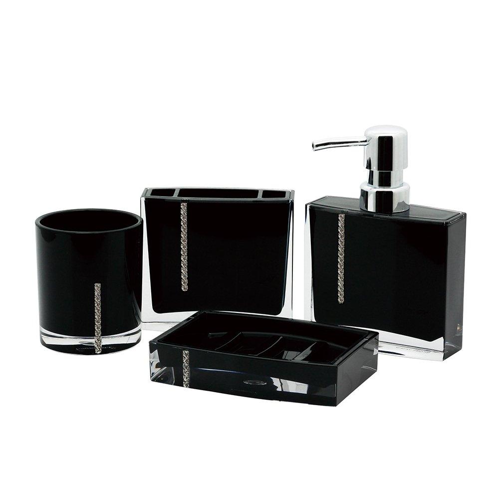 Kingston Brass CBAK3100K 4 Piece Krystal Bathware Reef Bath Accessory Set, 5-15/16 Inch Length, Black