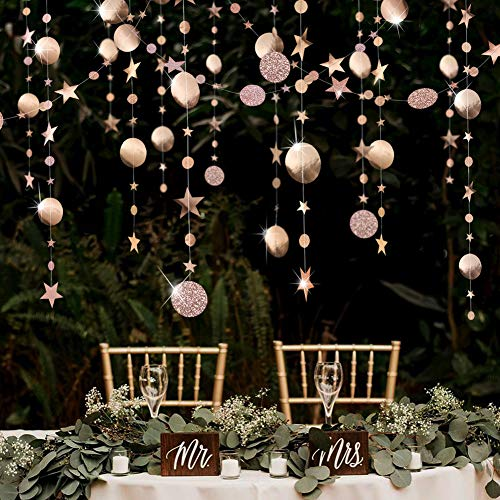 Champagne Party Decoration Gold Circle Dot Garland Streamer Kit Twinkle Star Paper Hanging Bunting Glitter Reflective Banner Backdrop for Engagement/Wedding/Baby Shower/Christmas/Birthday/Kid's Room -
