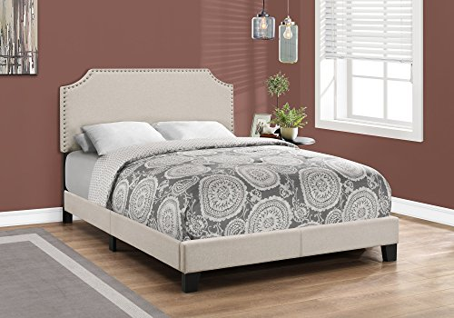 Brass Full Size Bed Frame - Monarch Specialties I 5926F, Full, Beige