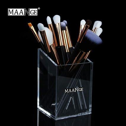 Bloodfin - Caja transparente para brochas de maquillaje, acrílico transparente, organizador de cosméticos y joyas, organizador de pintalabios, cosméticos, pinceles: Amazon.es: Belleza
