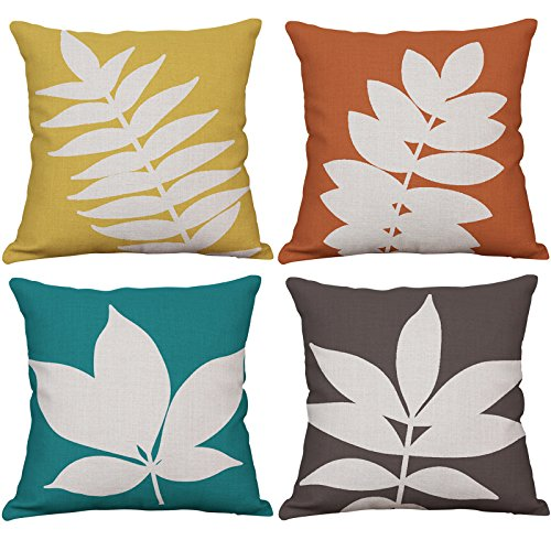 - YeeJu Set of 4 Leaf Throw Pillow Covers Decorative Cotton Linen Cushion Covers Square Sofa Home Pillow Covers 18x18 Inch