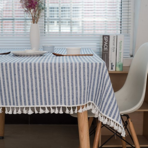 Lahome Stripe Tassel Tablecloth - Cotton Linen Table Cover Kitchen Dining Room Restaurant Party Decoration (Rectangle - 55