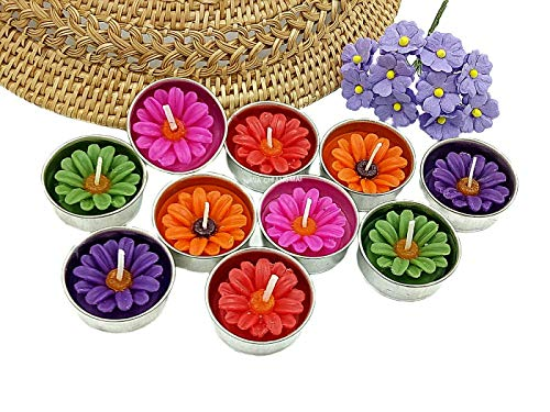 NAVA CHIANGMAI Flower Tealight Candles Scented Tea Lights Aromatherapy Relax Candles for Birthday Party Supplies and Wedding Favor Baby Shower Decorations Pack of 10 Pcs(Multi-Colored Daisy -
