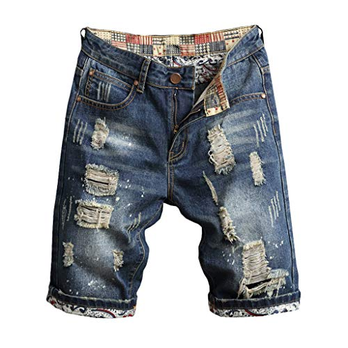 TANLANG Men's Denim Shorts Jeans Pants Pocket Casual Ripped Distressed Slim Fit for Men (36, Dark - Distressed Crewneck Gold
