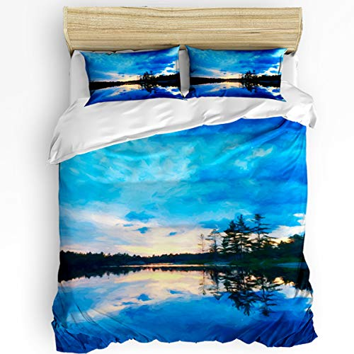 - YEHO Art Gallery King Size Luxury 3 Piece Duvet Cover Sets for Boys Girls,Blue Sky Reflected in The Lake Bedding Set,Include 1 Comforter Cover with 2 Pillow Cases