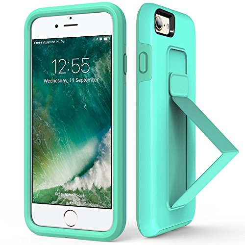 iPhone 7 Case, iPhone 8 Case, iPhone 7 Kickstand Case, ZVEdeng Vertical and Horizontal Stand Phone Strap Reinforced Kickstand Protective Slim Case Cover for Apple iPhone 7/8 4.7'' Mint Green]()