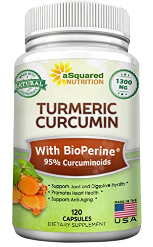 Pure Turmeric Curcumin 1300mg with BioPerine Black Pepper Extract - 120 Capsules - 95% Curcuminoids, 100% Natural Tumeric Root Powder Supplements, Natural Anti-Inflammatory Joint Pain Relief Pills
