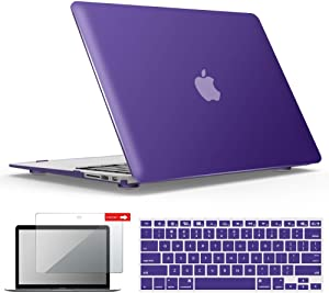 IBENZER MacBook Air 13 Inch Case A1466 A1369, Hard Shell Case with Keyboard & Screen Cover for Apple Mac Air 13 Old Version 2017 2016 2015 2014 2013 2012 2011 2010, Ultra Purple, A13UAPU+2