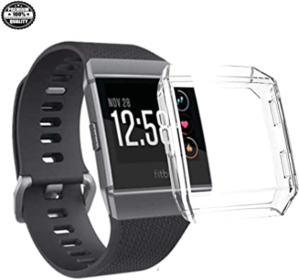 New Screen Protector Case for Fitbit Ionic, Soft TPU [Vacuum- Plating] Watch Case 360° Full Protection for Fitbit Ionic Smartwatch Case (Clear)