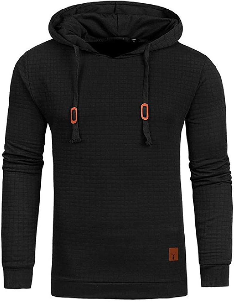 Joe Wenko Mens Drawstring Casual Waffle Long Sleeve Pullover Hooded Sweatshirts