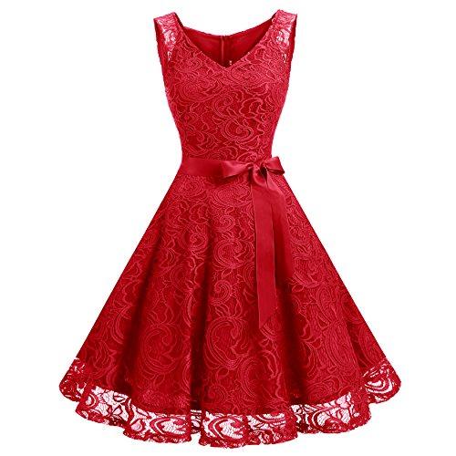 para Honor Sin Encaje De Vestido Rojo Elegante Dressystar Corto Fiesta Flor Mangas Mujer Dama 0zRxpU7q