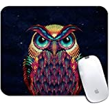 Personalized Rectangle Mouse Pad, Printed Owl Pattern, Non-Slip Rubber Comfortable Customized Computer Mouse Pad (9.45x7.87inch)