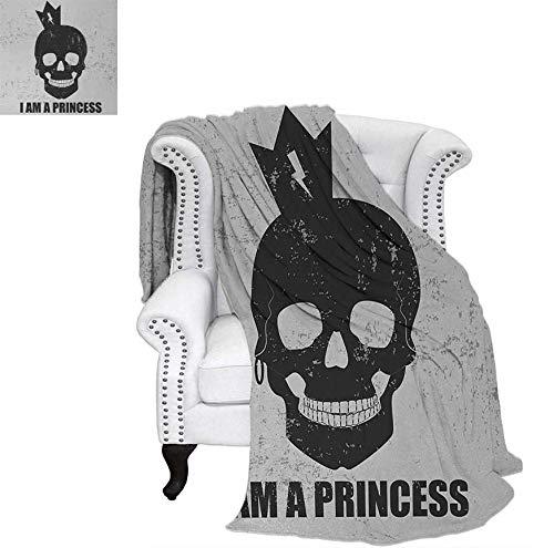Custom Design Cozy Flannel Blanket Skull with a Crown Skeleton Halloween Theme Grunge Look Weave Pattern Blanket 62
