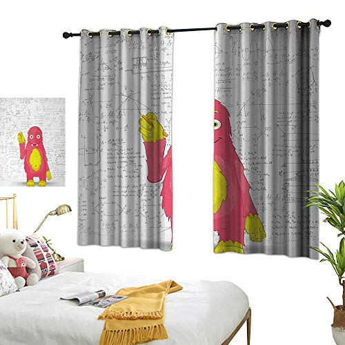 LsWOW Bedroom Curtains W72 x L63 Kids,Funny Smart Monster Doing Math on Wall Science Nerds Comic Illustration Pattern,Pink Yellow White Blackout Window Curtain]()