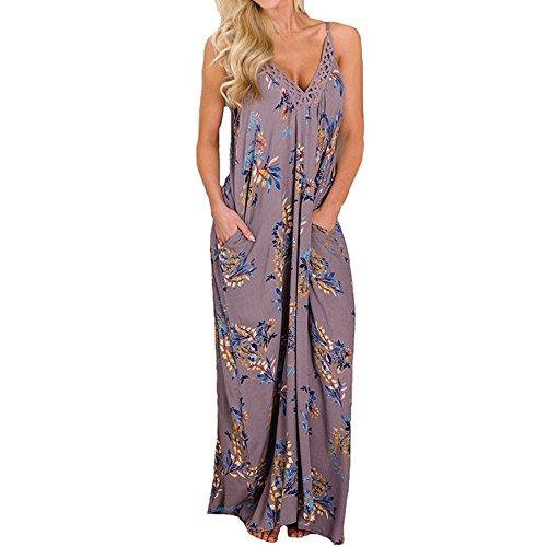 Maxi Dresses for Women, Casual Summer Sunflower Maxi Dress Strappy Irregular Hawaiian Boho Hippie Dress by BOLUBILUY