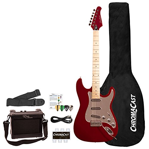 Sawtooth ES Series ST Style Electric Guitar Beginner's Pack, Fire Brick Red with Chrome Pickguard