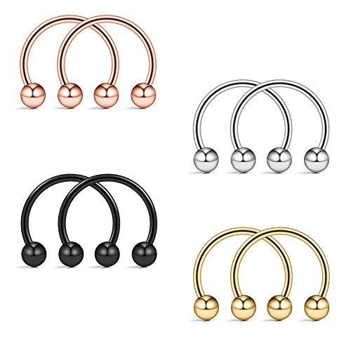 (Ruifan 316L Surgical Steel CBR Horseshoe Circular Rings Nose Eyebrow Tragus Lip Ear Hoop Ring Piercing 20G 10MM 10PCS (Steel+Black+Gold+Rose Gold))
