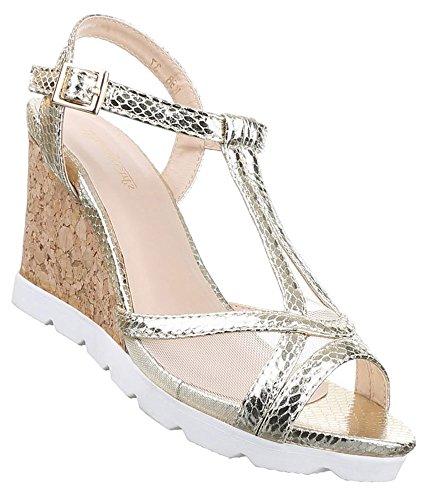 Damen Sandaletten Schuhe Keilabsatz Wedges Pumps Schwarz Gold Silber 36 37 38 39 40 41 Gold