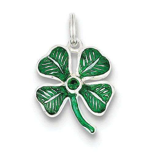 Leaf Silver Sterling Charm Glass (West Coast Jewelry Sterling Silver Enameled 4-Leaf Clover with Green Glass Stone Charm)