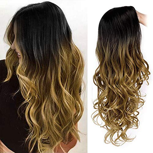 Long Ombre Wig Black To Light Brown Wavy Natural Looking Wigs for Women Side Part Heat Resistant Daily Party Cosplay 26 Inches Synthetic Wigs Hawkko