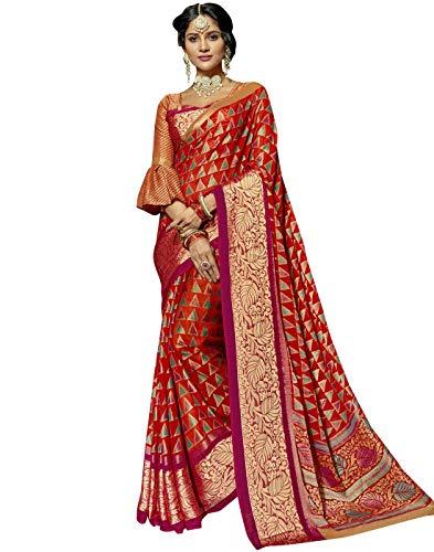 DesiButik's Designer Graceful Red Chiffon Brasso Saree