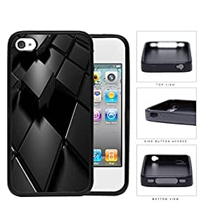Black Blocks 3D Puzzle Rubber Silicone TPU Cell Phone Case Apple iPhone 4 4s
