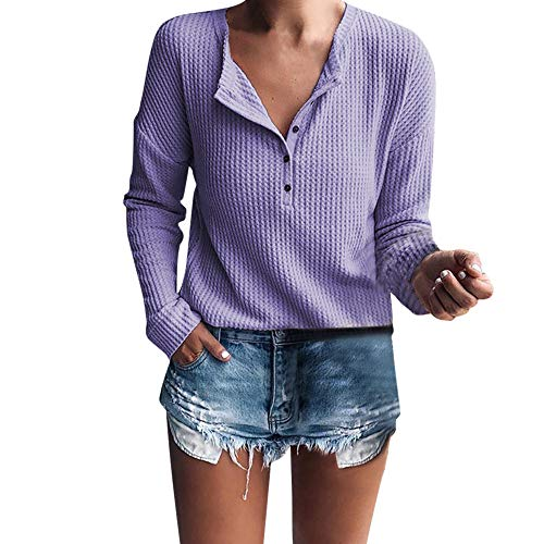 Sweater Sleeve 3/4 Henley Ribbed - St.Dona Basic Button Tunic - Women's Long Sleeve Henley Shirt Rib Knit Blouse Tops Purple