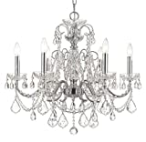 Cheap Crystorama 3226-CH-CL-MWP, Imperial Crystal 1 Tier Chandelier Lighting, 6 Light, 360 Watts, Chrome