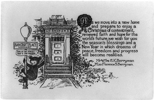 Berryman Bear - Photo: Christmas card design,mailing,Berryman family,teddy bear,lamp post,address,1939