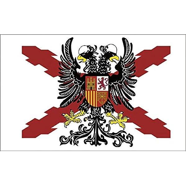 Durabol Bandera de Cruz DE BORGOÑA con Águila Bicéfala -Aguila Bicéfala Cruz de San Andrés150X90 CM Flag Satin …: Amazon.es: Jardín