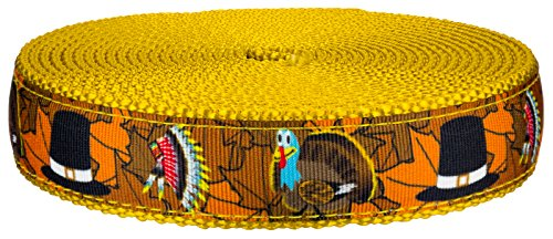 (Country Brook Design - 1 Inch Thanksgiving Tradition on Gold Nylon Webbing, 50 Yards)