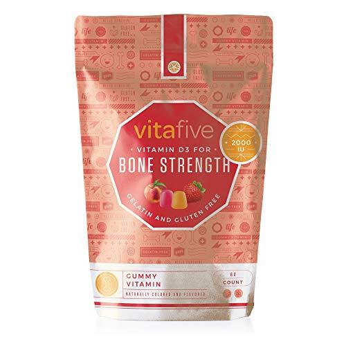 Vitafive Healthy Bone Strength Vitamin D3 2000 IU Gummy Vitamins - Natural Flavors, Vegetarian, Gluten Free, Allergen Free Gummies, Kosher, Halal - 60 Count