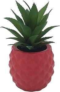 BLASCOOL Faux Succulent Plants Artificial Pineapple - Fake Plant in Pot Mini Succulents Detor Plastic Flower for Kitchen Bedroom Bathroom (Red)