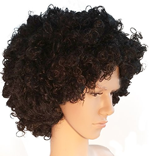 Black Curly Wig Costume (Black Curly Big Afro Costume Wig Funky 70s Style for Men and Women)