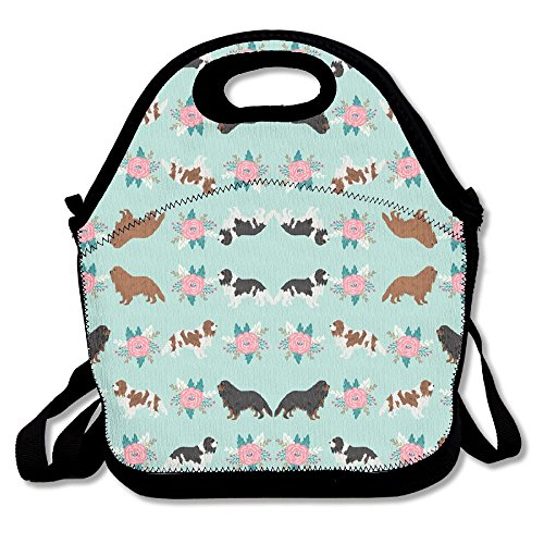 Cavalier King Charles Spaniel Dogs Cute Dog Lunch Bag Lunch Tote Lunch Pouch Handbag Made For Women, Men And Kids