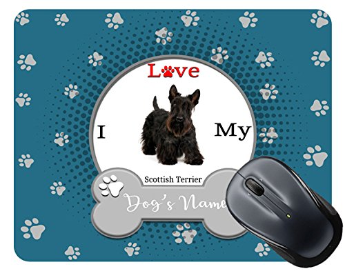 BleuReign(TM) Personalized Custom Name I Love My Dog Scottish Terrier Mouse Pad