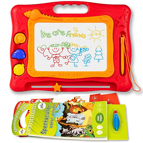 Magnetic Magna Drawing Doodle Board - 2 Water Coloring Books for toddlers - Erasable Doodle Board for Boys and Girls - Travel Size Doodle Pad Helps Your Kids Write & Sketch by LootSoul