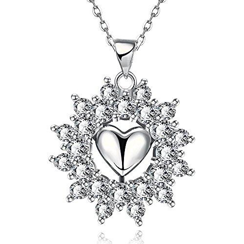(CATS Female Romantic Platinum Singapore Chain Twist Pendant Necklace Platinum Rolo Chain Heart Pendant Pattern Zircon Necklace, Platinum)