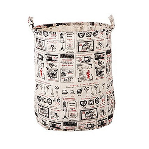 FakeFace Cotton Linen Large Folding Laundry Storage Basket Hampers for Dirty Clothes Kids Storage Bucket Boxes Bins Organizer Tote Bag for Baby Accessories Toys with Handles by Fakeface