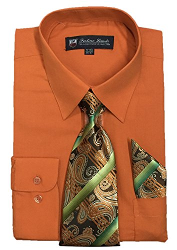 - Fortino Landi Men's Long Sleeve Dress Shirt With Matching Tie And Handkerchief (16-16.5