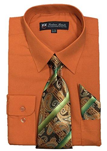 Fortino Landi Men's Long Sleeve Dress Shirt With Matching Tie And Handkerchief (16-16.5