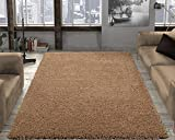 Ottomanson Soft Cozy Color Solid Shag Area Rug Contemporary Living and Bedroom Soft Shag Area Rug, Beige, 6'7'L X 9'3'W