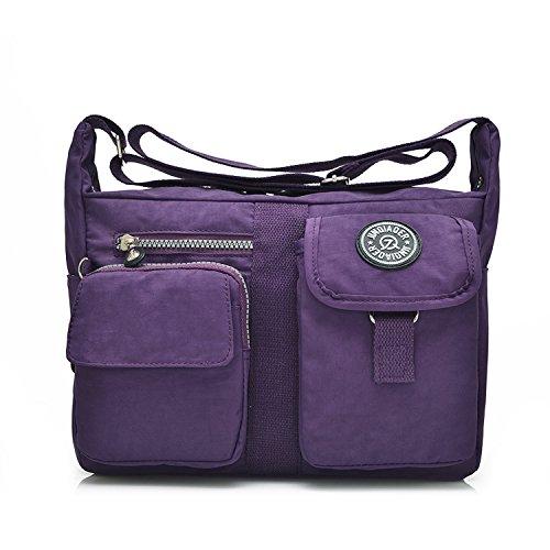 Outreo Mujer Bolsos de Moda Bolso Bandolera Bolsas de Viaje Escolares Impermeable Bolsos Baratos Mano Sport para Tablet Messenger Bag Nylon Morado